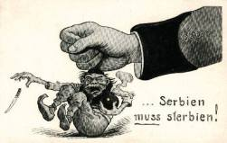 WW1 Austro-Hungarian post cards,Serbia must die.