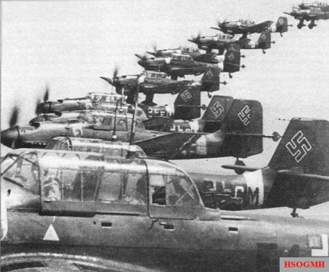 Formation of Stukas.