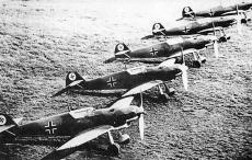 Row of Messerschmitt Bf 109s.