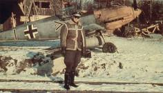 Seen here is Walter Horten, Gruppenkommandeur of III./JG 26, in front of his Messerschmitt Bf 109 E. The aircraft has a camouflage scheme consisting of 71/02/65 with some lower areas repainted. Note the auxiliary fuel tank.