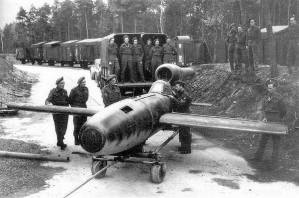 Fi 103R Reichenberg (without warhead) captured by British troops in 1945.