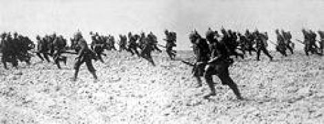 German infantry somewhere on the West Front in 1914.