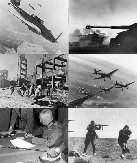 Soviet Il-2 ground attack aircraft in Berlin sky; German Tiger I tanks during the Battle of Kursk; German Stuka dive bombers on the Eastern Front, winter 1943–1944; Killings of Jews by German Einsatzgruppen in Ukraine; Wilhelm Keitel signing the German Instrument of Surrender; Soviet troops in the Battle of Stalingrad.