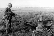 Wehrmacht soldier captures a soldier of the Red Army.