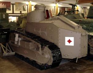 An Automitrailleuse à chenilles Renault FT modèle 1917, on display at the Parola Tank Museum - Finland.