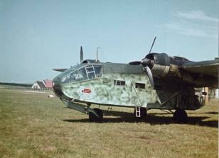 A brand new machine of Gotha Go 244 from Special Purpose Battle Group (Kampfgruppen zur besonderen verwendung, or KGr.z.b.V.) 104 or 106 with a large personal emblem beneath the cockpit.