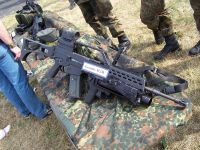 The AG36 grenade launcher mounted to a G36 A2 rifle.