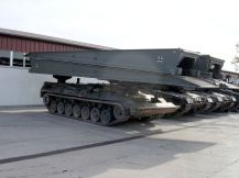 "Bridgelayer ""Biber"" (Beaver) with armored vehicle-launched bridge."