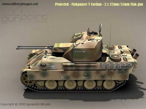 Illustration of Flakpanzer Coelian built on top of a Panther chassis.