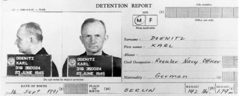 Karl Doenitz, arrest report from the U.S. government by June 23, 1945.