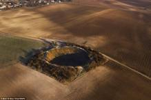 Shell shock! Lochnagar Crater at the Somme as it is today. The picture is part of a collection of World War One landscapes which still bear the signs of war damage.