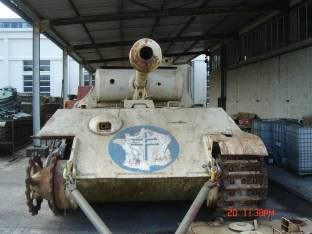 A beat up Panther captured by French Forces at the Musée des Blindés - Tank Museum - France.