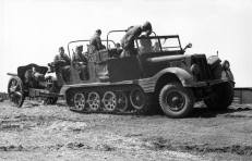 Sd.Kfz. 11 artillery tractor with an engineer body on the Eastern Front.