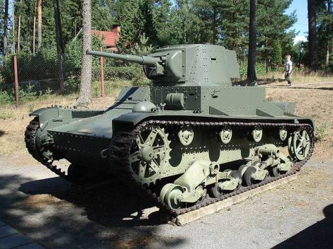 Finnish Vickers 6-ton tank (T-26E), on display at the Parola Tank Museum - Finland. This tank was upgunned with a captured Soviet 45 mm gun in a T-26 turret during the war.