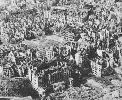 85% of Warsaw was destroyed. Centre: ruins of Old Town Market Place, Warsaw.
