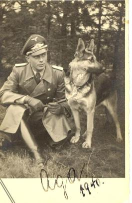 Luftwaffe Officer and his German Shepherd.