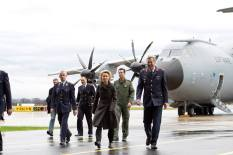Defence Minister Ursula von der Leyen: After welcoming the crew of the A400M as it comes to the press.