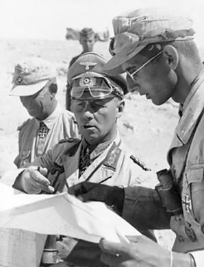 Field Marshal Erwin Rommel, with his aides during the desert campaign. 1942.