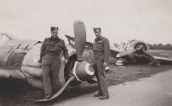 Allied soldiers with crashed Focke Wulf 190's, June 10th 1945.