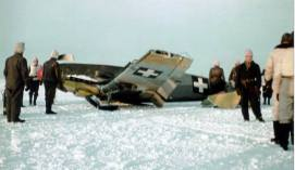 Messerschmitt Bf 109 from Hungarian Air Force Squadron 5/1 after a training mission ended in crash landing. It was destroyed when Stary Oskol airfield was evacuated on March 18,1943.