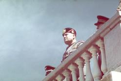 Benito Mussolini during Adolf Hitler's 1938 state visit to Italy.