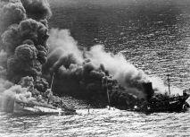 Allied tanker Dixie Arrow, torpedoed by U-71, in 1942.