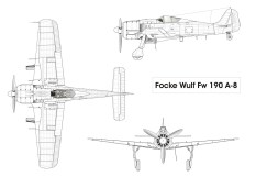 Fw 190 A-8 three view drawing.