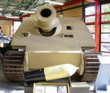 Sturmtiger in the Deutsches Panzermuseum. In the front is the main 380 mm caliber rocket-propelled projectile.