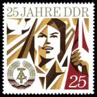 """25 years of the GDR"" is a 1974 postage stamp commemorating the 25th anniversary of East Germany's establishment on 7 October 1949."