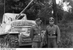 A Waffen-SS Marder II and its crew somewhere in Southern Russia during the Wehrmacht's raid into the Caucasus. The vehicle depicted is the Sd.Kfz. 132 variant, also known as a 'Las76′, based on the early Panzer II Ausf. D/E chassis mounting a captured Soviet 76 mm gun.
