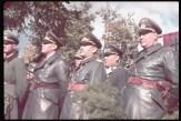 Right to left, front row: Adjutant Wilhelm Brueckner, Luftwaffe fighter ace Adolf Galland, Gen. Albert Kesselring and Gen. Johannes Blaskowitz view the victory parade in Warsaw after the German invasion of Poland, 1939.