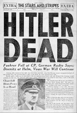 Front page of the US Armed Forces newspaper, Stars and Stripes, 2 May 1945, announcing Hitler's death.