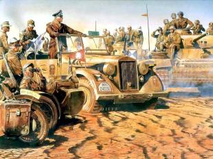 Erwin Rommel and his Afrika Korps.