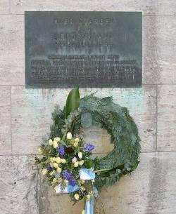 Memorial to Haeften and four other conspirators at Bendlerblock.
