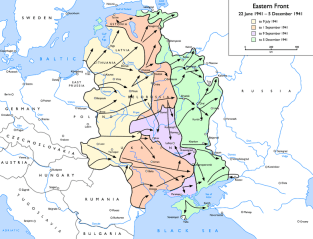 The German advance during Operation Barbarossa, June to December 1941.