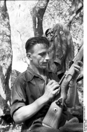 An Italian soldier on the Gothic Line, late 1944.