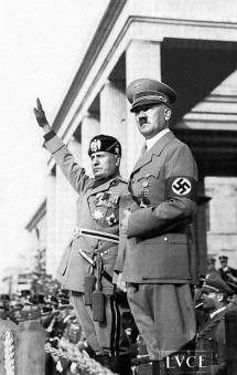 Benito Mussolini and Hitler.