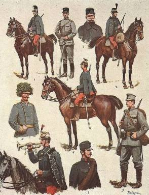 lIlustration of Austro-Hungarian solders in WWI.