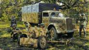 75mm PaK-40 and truck Opel-Blitz.