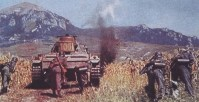 Panzerkampfwagen III of Heeresgruppe Süd (Army Group South) advances through the Kuban Steppe on the Caucasus Mountains during Operation Blue (Unternehmen Blau/Fall Blau).