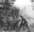 1st US Army 105mm Howitzer Crew in action in Wenau Forest, Germany 1944.