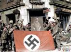 Captured flag and portrait of Hitler by allied soldiers on 22nd of March 1945