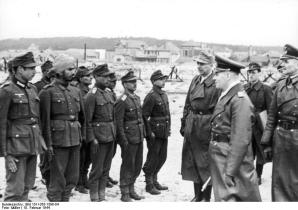 Inspecting the Free India Legion, France, 1944.