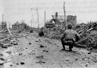 Allied soldiers in Unterbach, Germany 1945.