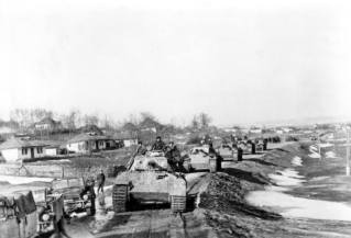 Panther tanks of the Großdeutschland Division advance in the area of Iaşi, Romania in 1944.