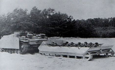 Modified sled being pulled behind a StuG.