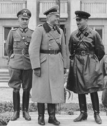 Guderian (centre) and Semyon Krivoshein (right) at the joint German–Soviet parade in Brest-Litovsk on September 22, 1939.