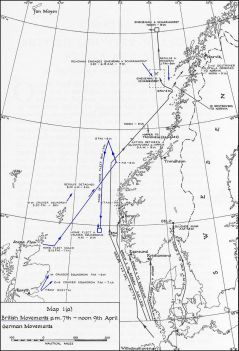 German and British naval movements from 7–9 April.