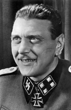 Otto Skorzeny (12 June 1908 – 5 July 1975) was an SS-Obersturmbannführer (Lieutenant Colonel) in the German Waffen-SS during World War II. After fighting on the Eastern Front, he was chosen as the field commander to carry out the rescue mission that freed the deposed Italian dictator Benito Mussolini from captivity.[1] Skorzeny was also the leader of Operation Greif, in which German soldiers were to infiltrate through enemy lines, using their opponents' language, uniforms, and customs. At the end of the war, Skorzeny was involved with the Werwolf guerrilla movement and the ODESSA network where he would serve as Spanish coordinator.