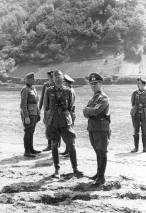 General Erwin Rommel and staff observe 7th Panzer Division practicing a river crossing at the Mosel, spring 1940.